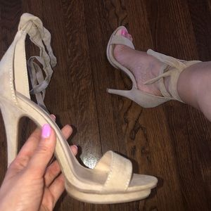 Lace/Tie up nude heels